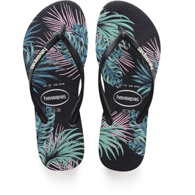 havaianas Slim Tropical Floral Flips Women Black/Black/Daybreak